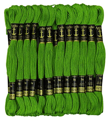 Anchor Threads Cross Stitch Hand Embroidery Thread Stranded Cotton Craft Sewing Floss 25 Skeins-Shamrock Green