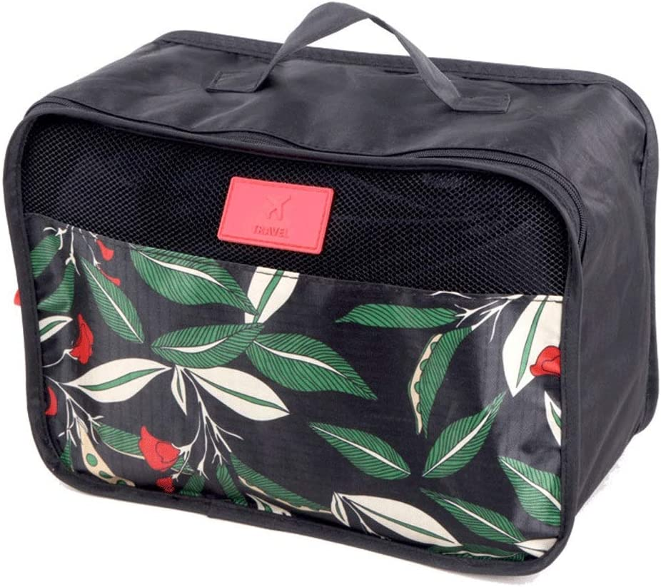 Color : Black, Size : Free Size Liweibao 6PCS Leaf Pattern Waterproof Packing Cubes Value Set for Travel Luggage Organiser Bag Compression Pouches Clothes Suitcase Color:Black