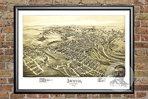 Ted's Vintage Art Irwin Pennsylvania 1897 Vintage Map Print | Historic Westmoreland County, PA Art | Digitally Restored On Museum Quality Matte Paper 12