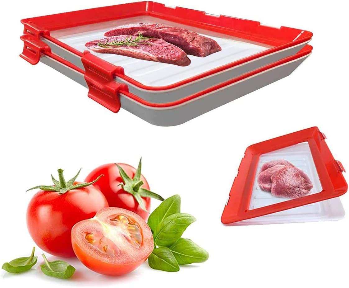 Food Tray Stackable Creative Food Preservation, Food Preservation Tray Space Food Savers, Plastic Food Storage Container with Elastic Reusable Locking Lid for Refrigerator and Freezer Flat Food (2)