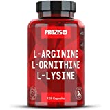 Prozis Pure L-Arginine L-Ornithine L-Lysine Supplement Capsules - Essential Amino Acid Complex For Increase Cardiovascular Health, Weight Loss and Energy - Nitric Oxide Booster - 120 caps - 30 Days