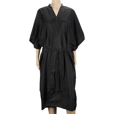 Bata de masaje Black Spa, vestido de kimono Segbeauty Mangas medias universales Ropa para clientes Salón de belleza Bata impermeable Peluquería Capa ...