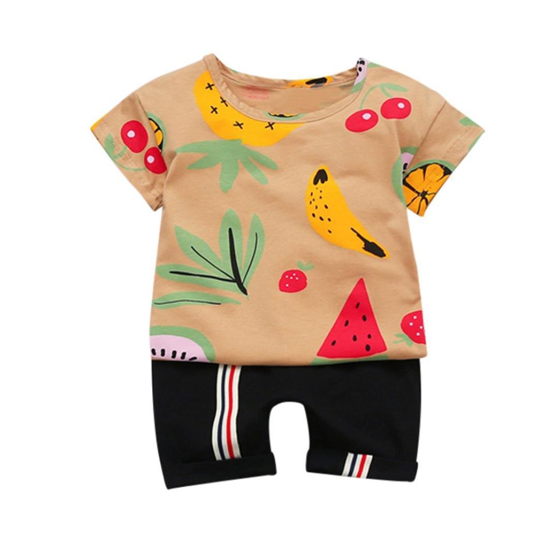 FEITONG Baby Boys Short Sleeve Fruit Print Top +Short Pant 2Pcs Set Outfits (Coffee, 2-3T)