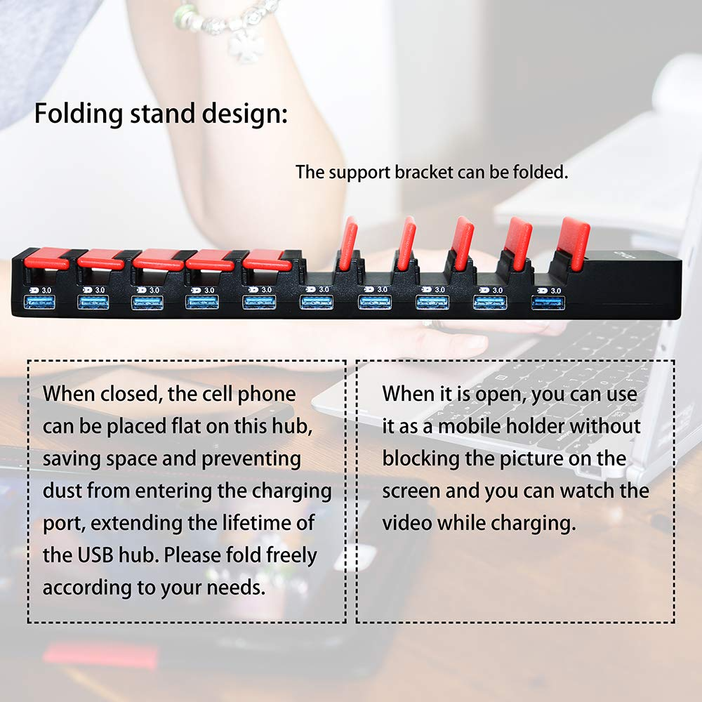 1M Power Cord Included Multi Device Charging Station DIYOO 10 Ports Tablet Charging Dock for Smartphones//Tablets