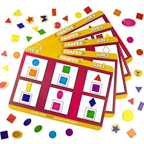Educational worksheets, 20 Double Sided Task Slides. Magnetic Shapes and Colors (120 Pieces) Creative Learning Program. Teaches Basic Concepts, Develops Fine Motor Control (Shapes Centers Learning)