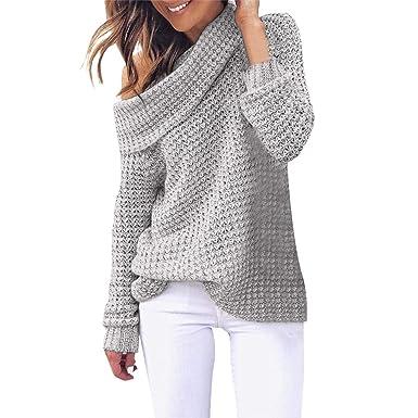 IZHH Damen Pullover Mode Kalte Schulter Stricken Pullover
