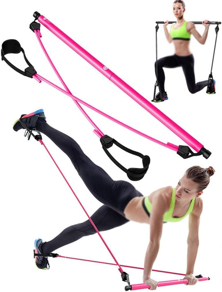 Pilates Bar Kit with 4 Removable Elastic Adjustable Resistance Bands US seller