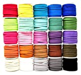 5mm round leather cord - Mandala Crafts 138 Yards Jewelry Making Flat Micro Fiber Lace Faux Suede Leather Cord (5mm, 25 Rolls Combo)