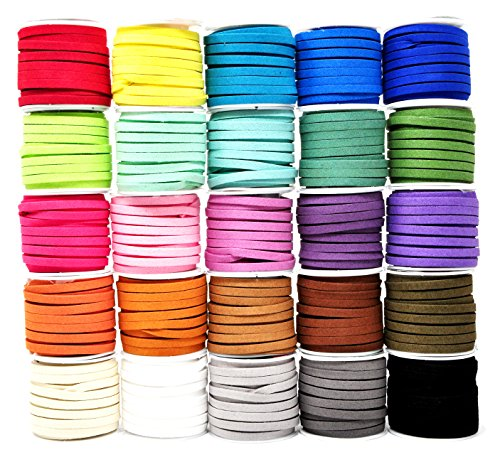 (Mandala Crafts 138 Yards Jewelry Making Flat Micro Fiber Lace Faux Suede Leather Cord (5mm, 25 Rolls Combo))