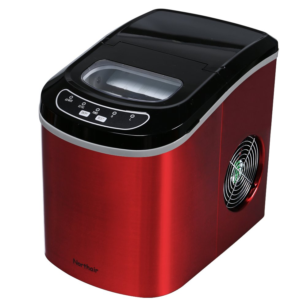 Northair HZB-12/SA Portable Ice Maker Machine Counter Top with 26lbs Daily Capacity Stainless Steel Colorful (Red)