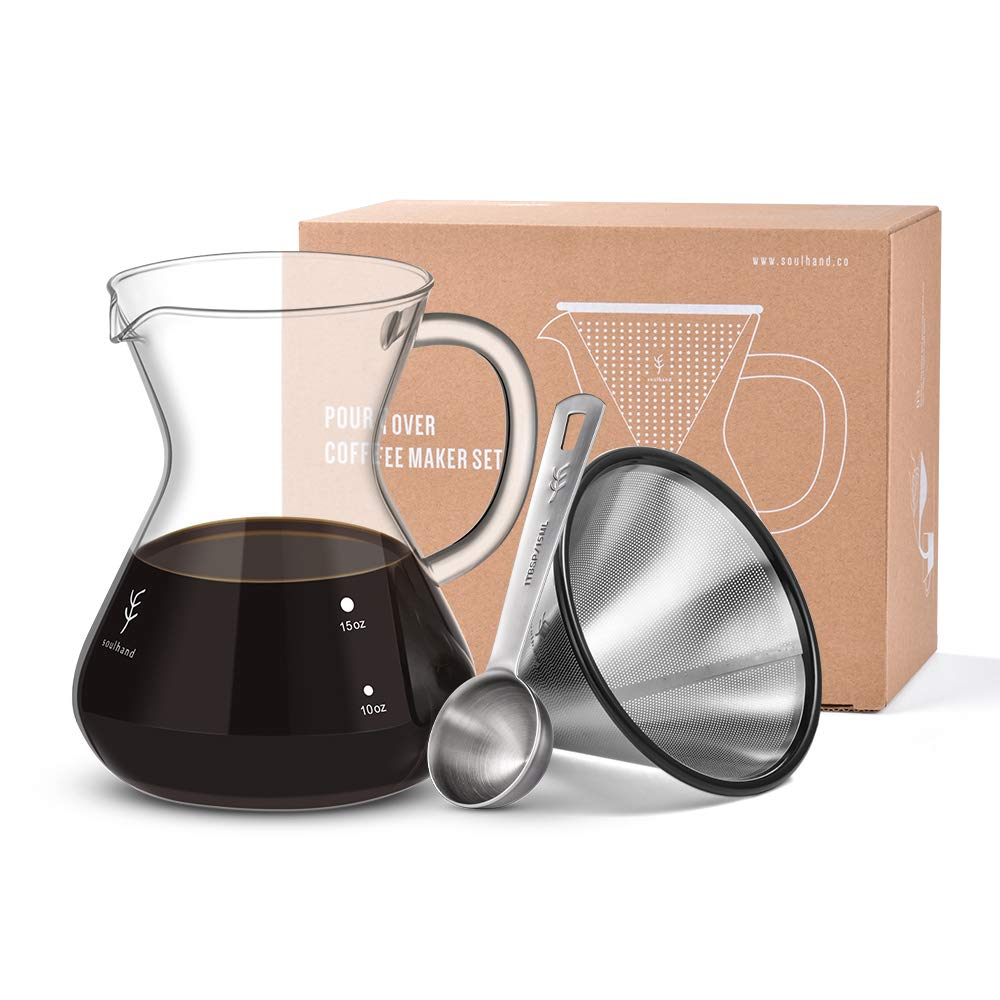 Soulhand Pour Over Coffee Maker Brewer Set - Borosilicate Glass Carafe Coffee Pot 17oz 500ml, Reusable Stainless Steel Filter Dripper, Coffee Scoop 1 tbsp by SOUL HAND