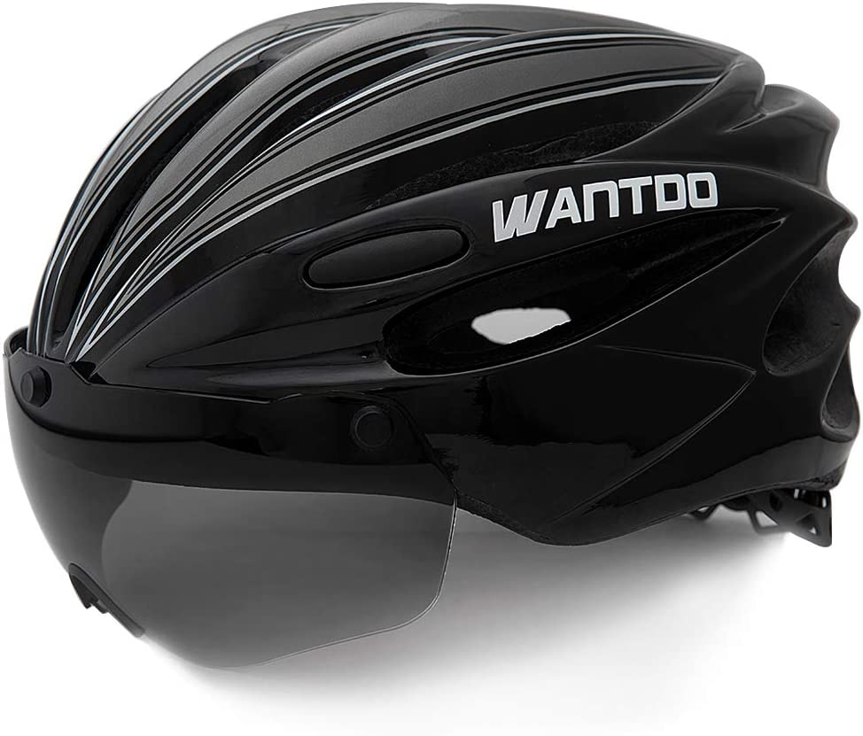 Wantdo Bike Helmet with Removable Magnetic Goggles Visor Mountain Road Bicycle Helmet Adjustable Adult Cycling Helmet BMX Helmet for Men Women Youth
