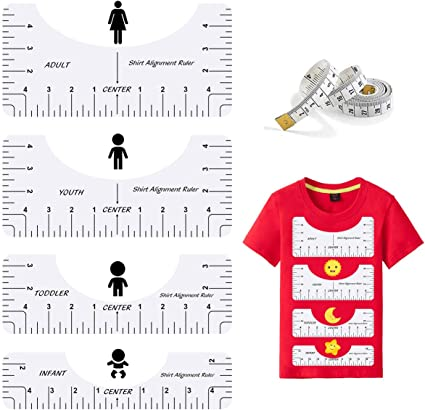 8 Pack T Shirt Alignment Ruler with 1 Piece Measuring Ruler Adult Youth Toddler Infant Craft Ruler with Guide Tool for Making Fashion Center Design