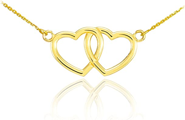 14k Two Tone Gold Open Heart Pendant with White Gold Dangling Key Charm Necklace