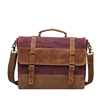Men s Messenger Bag Waterproof Canvas Crazy Horse Leather Computer Laptop  Bag 14 Inch Briefcase Case Vintage 2903d40178798
