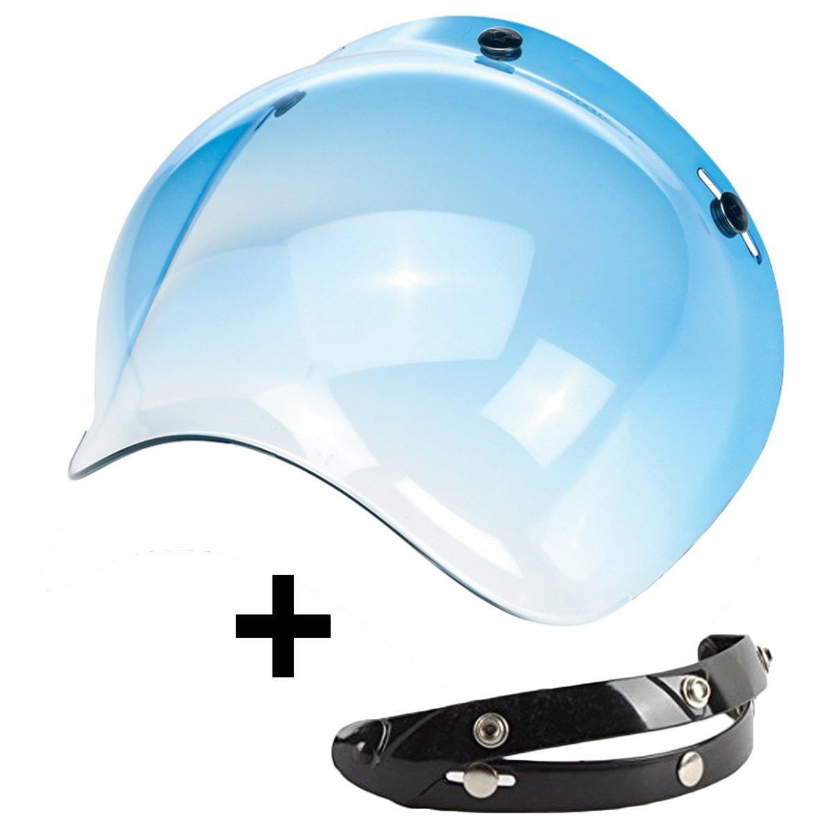 Visier Bubble Drei Knö pfen klappbar blau hellblau Universal-Helm Jet Kompatibel mit Helme Biltwell Bell DMD Bandit AFX Nolan AGV -aftermarket