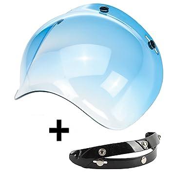 Visera Bubble 3 botones abatible azul celeste universal para casco jet compatible con cascos Biltwell Bell