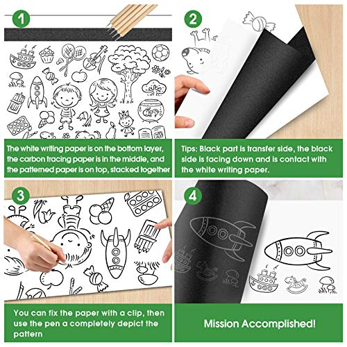 PSLER 215 Sheets Carbon Paper Sheets, Carbon Copy Paper with 5PCS Embossing Stylus for DIY Woodworking, Paper, Canvas and Other Art Craft Surfaces(A4 Size)