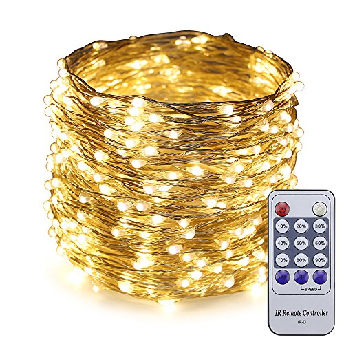ER CHEN 99ft Led String Lights,300 Led Starry Lights on 30M Silvery Copper Wire String Lights + 12V DC Power Adapter + Remote Control(Warm White)]()