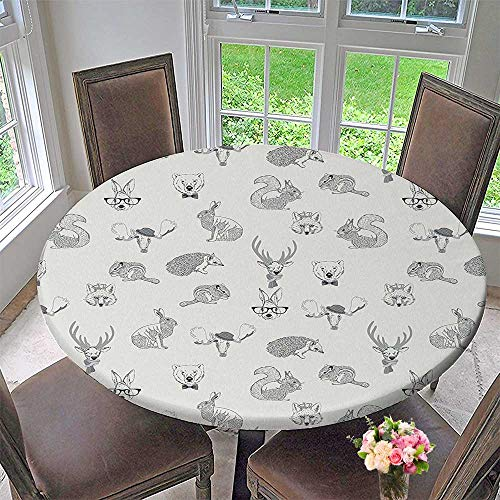 Mikihome Chateau Easy-Care Cloth Tablecloth Grey of Weird s Instyle Rabbit Fox Dear Wild Life Boho Chic Art Home Gray for Home, Party, Wedding 40