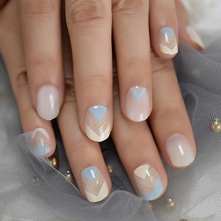 Zjdm Uñas Postizas Summer Short Natural White Nail Falsas