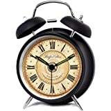 """XIDUOBAO 4"""" Vintage Retro Fashioned Quiet Non-ticking Sweep Second Hand, Quartz Analog Twin Bell Clock, Battery Operated, Loud Alarm(Black Roman numbers ) (4"""")"""