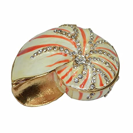 Amazoncom Scallop Shell Box Nautical Decor Metal Trinket Jewelry