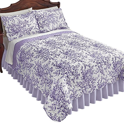 (Collections Etc Reversible Bedding Quilt in Leafy Floral Garden with Scalloped Edges, Lavender,)