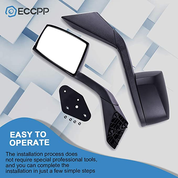 ECCPP Truck Hood Mirrors Black Replacement fit for 2004-2016 Volvo VNL 2004 Volvo VN Set Mounting Plates Pair Mirrors 065085-5211-1841503