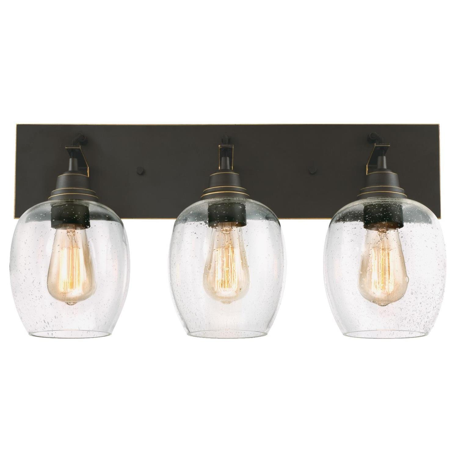 Westinghouse 6333400 Eldon Indoor Wall Fixture, Oil Rubbed Bronze Finish with Highlights and Clear Seeded Glass, Three Light by Westinghouse