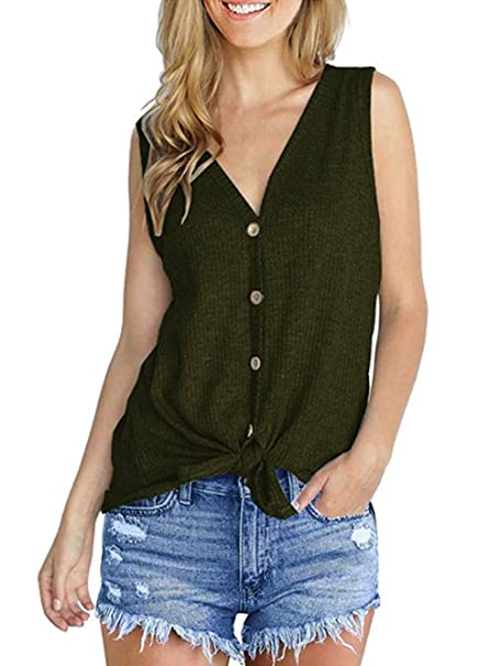 111091be24537 iChunhua Womens Waffle Tunic Blouse Tie Knot Henley Tops Loose Fitting  Plain Shirts S Army Green