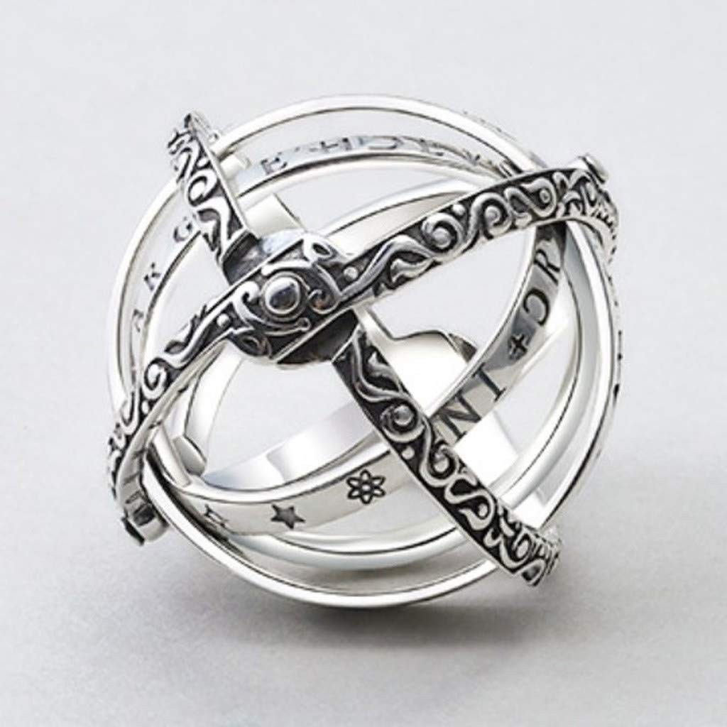 Silver Openable Ring Astronomical Globe Ring Vintage Science Jewelry