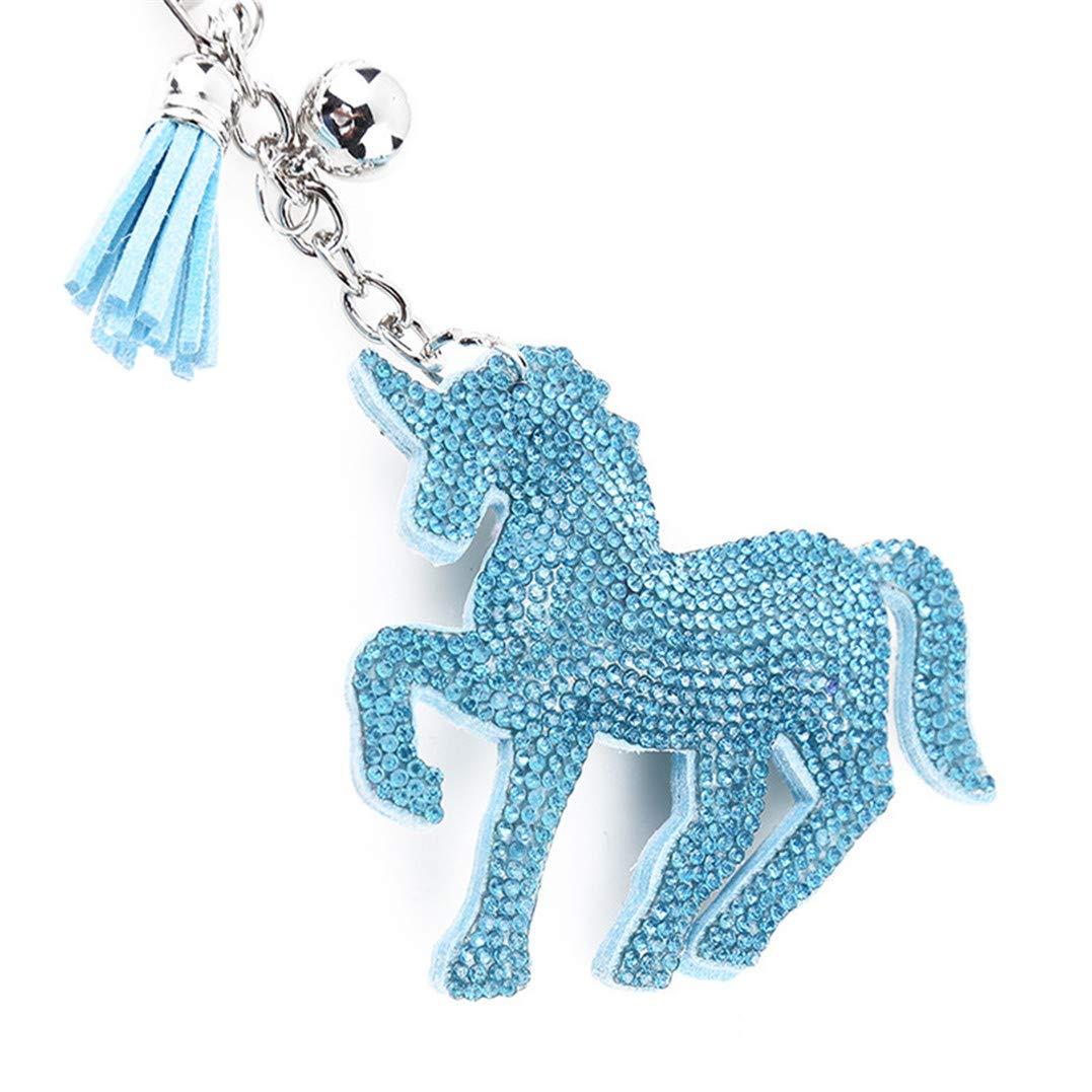 Underleaf Pompon en Cuir Licorne Bleu avec Strass clé Sac à Main Sac à Main téléphone Portable Porte-clés Porte-clés