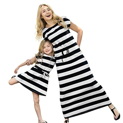 f57726068fd WensLTD Family Matching Clothes Mother Daughter Striped Sundress Short  Sleeve Dress Family Clothes (3T