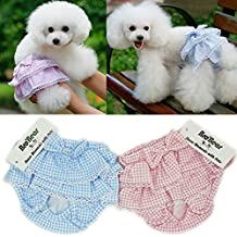 Bro'Bear Elastic Dress Design Female Puppy Sanitary Panties for Small Girl Dogs (Pack of 2(Blue+Pink), Small)
