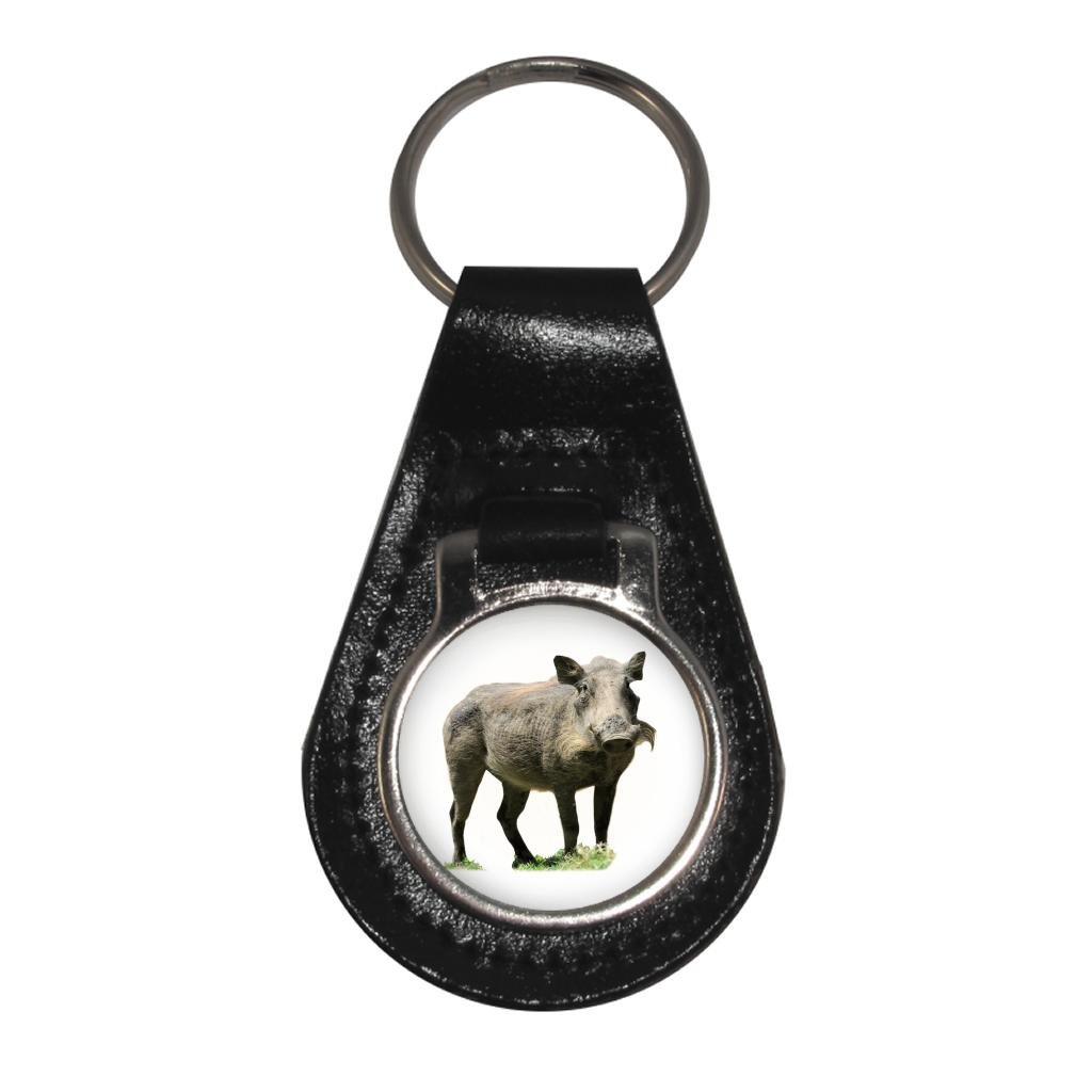 Warthog Image Black Leather Keyring in Gift Box