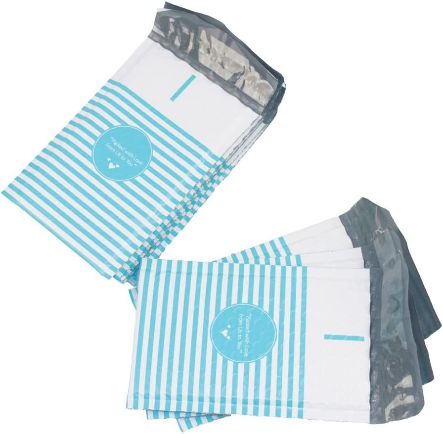 BESTeck #000 Blue Stripe Packed with Love from Us to You Poly Bubble Mailers 4x8 Padded Envelopes 100pcs