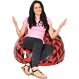 can bean bags Triangle Theme Jumbo Digital Printed Bean Bag Cover Without Beans - Red and Black