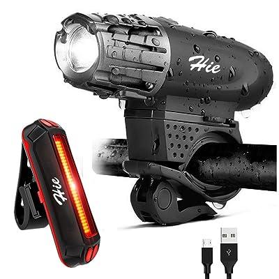 Éclairages avant et arrière pour vélo, LED rechargeable par USB, super lumineux et étanches, facile à retirer pour être utilisé comme une lampe de poche, pochette incluse