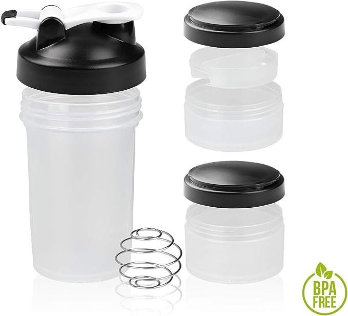 Shaker Gym Bottle | Coctelera para batidos de proteínas con doble compartimento | Sport Protein Mixer Cup sin BPA | Botella mezcladora para gimnasio ...