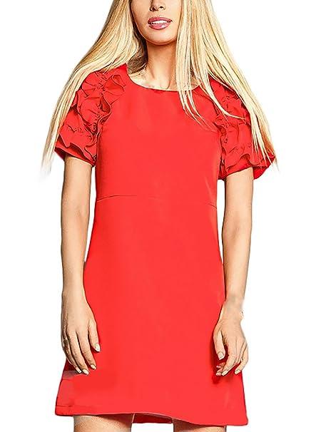 Mujer Vestidos De Fiesta Cortos Elegantes Cuello Redondo Manga Corta Volantes Ajustados Slim Fit Jovenes Moda