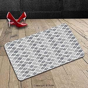 Custom lavable Felpudo (abstracto cuadrado diseño de líneas wavy de lunares o rayas espiral lunares Floral pétalos con ilustración azul interior/al aire libre Felpudo alfombra alfombra alfombra