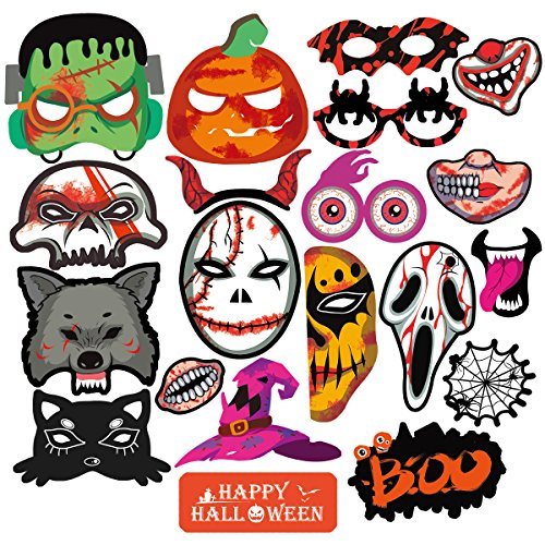 Adult Halloween Cards (PBPBOX Halloween Photo Booth Props Halloween Party Favor Decoration Kit - 20 Count)