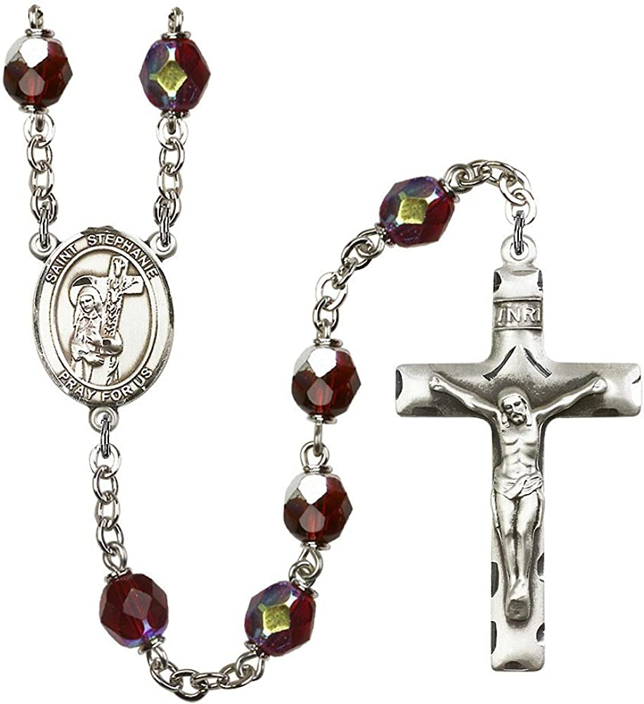 Bonyak Jewelry 18 Inch Rhodium Plated Necklace w// 4mm Green August Birth Month Stone Beads and Saint Stephanie Charm