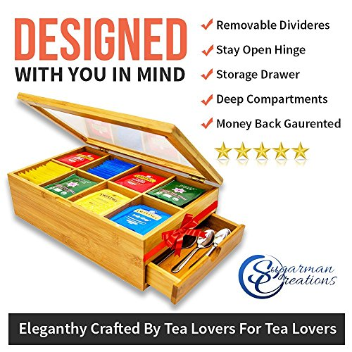 Tea Box 100% Bamboo Tea Box Chest Organizer With Slide Out Drawer, 8 Storage Compartments Clear Shatterproof Hinged Lid By Sugarman Creations by Sugarman Creations (Image #3)