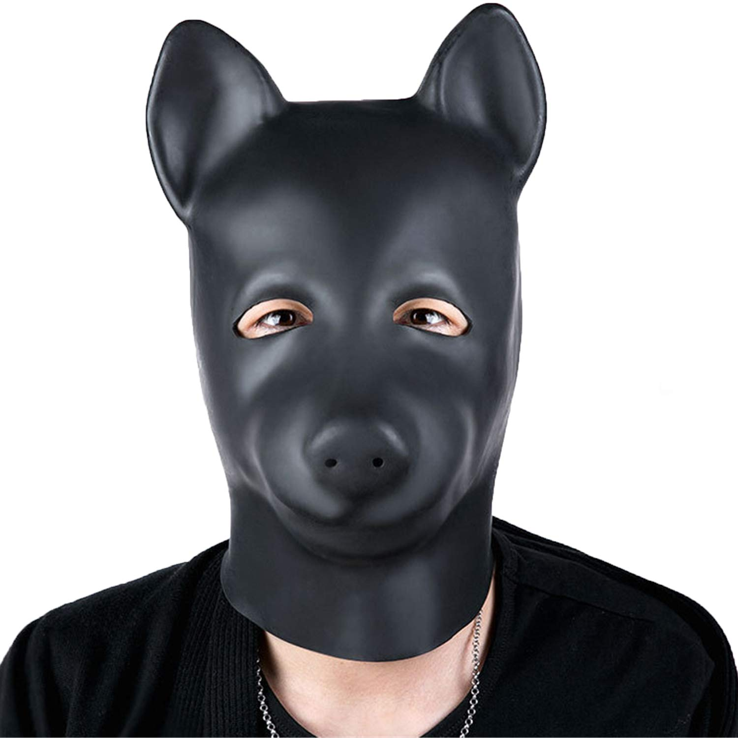 Latex Bondage Gimp Puppy Mask, Black Full Face Blindfold Breathable Restraint Head Hood, Sex Toys, for Unisex Adults Couples, BDSM/LGBT Cosplay Halloween Masquerade Mask by Aaijia