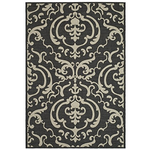 Sand 3x5 Area - Safavieh Courtyard Collection CY2663-3908 Black and Sand Indoor/Outdoor Area Rug, 5-Feet 3-Inch by 7-Feet 7-Inch