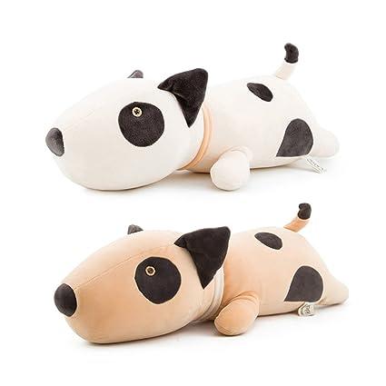 Almohada 53 cm Bull Terrier perro peluche bebé juguetes Kawaii suave dormir muñecas para recién nacido