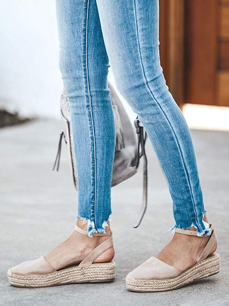 Womens Espadrilles Platform Sandals Ankle Strap Peep Toe Cut Out Dress DOrsay Shoes