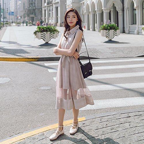 Rosa vestido Xuanytp De Encaje mediados Sección Playa Malla Falda Vestido vestido falda vestido La Mangas Sin 0w0frqZ